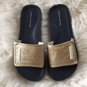 Tommy Hilfiger glitter gold sandals